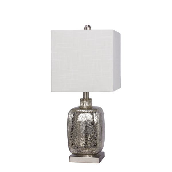 """22"""" Glass & Metal Table Lamp in Silver"""