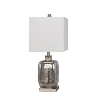 "22"" Glass & Metal Table Lamp in Silver"