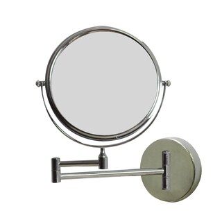 8-in. W Round Brass-Mirror Wall Mount Magnifying Mirror In Chrome Color