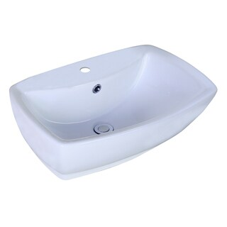 21.65-in. W x 15.35-in. D Above Counter Rectangle Vessel In White Color For Single Hole Faucet