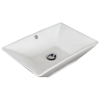 21.5-in. W x 15-in. D Above Counter Rectangle Vessel In White Color For Wall Mount Faucet