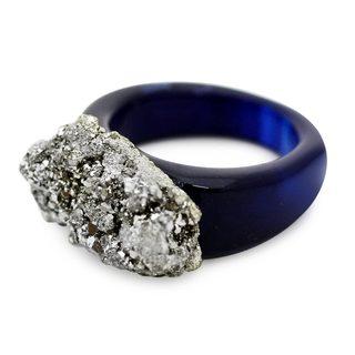 Handmade Agate Pyrite 'Tantalizing Blue' Ring (Brazil)