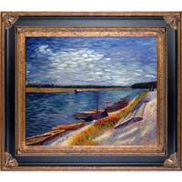 Vincent Van Gogh 'Moored Boats' Hand Painted Framed Canvas Art