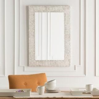 "Colyton White Mother of Pearl Inlaid Rectangular Wall Mirror - 28"" x 40"" - Pearl, White - 28"" x 40"""