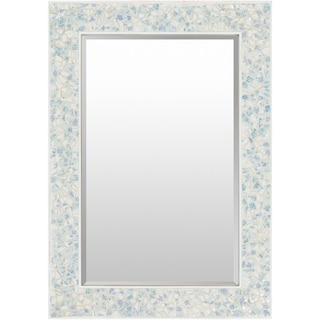 "Colburn Mother of Pearl Inlaid Large Size Rectangular Wall Mirror - Pearl, Blue - 28"" x 40"""