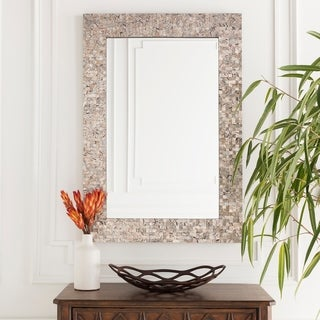 "Oldham Mother of Pearl Inlaid Rectangular Wall Mirror - ""28 x 40"" - Pearl, Grey - 28"" x 40"""