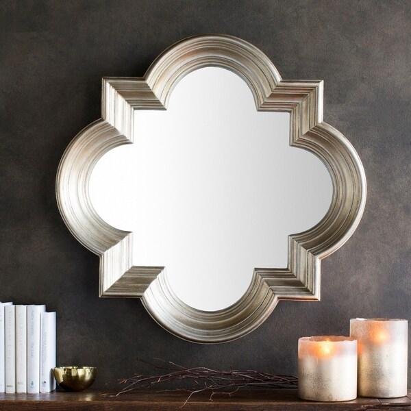 "Aliana Antiqued Silver Quatrefoil Wall Mirror - 34"" x 34"""