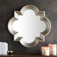 "Aliana Antiqued Silver Quatrefoil Wall Mirror - 34"" x 34"" - Gold"