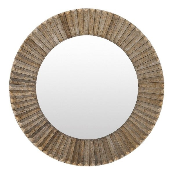 Barnes wood framed small size round wall mirror free for Small wood framed mirrors