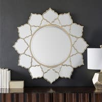 Ansley Champagne Round Wall Mirror - Gold