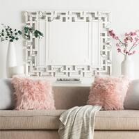 "Glenda Greek Key Beveled Framed Mirror - 35.5"" x 45"" - Silver"