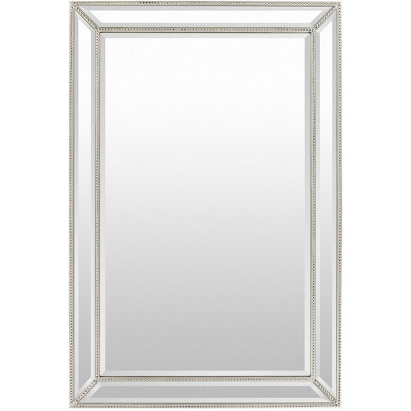 "Danika Wood Framed Medium Size Rectangular Wall Mirror - Silver - 32"" x 47"""