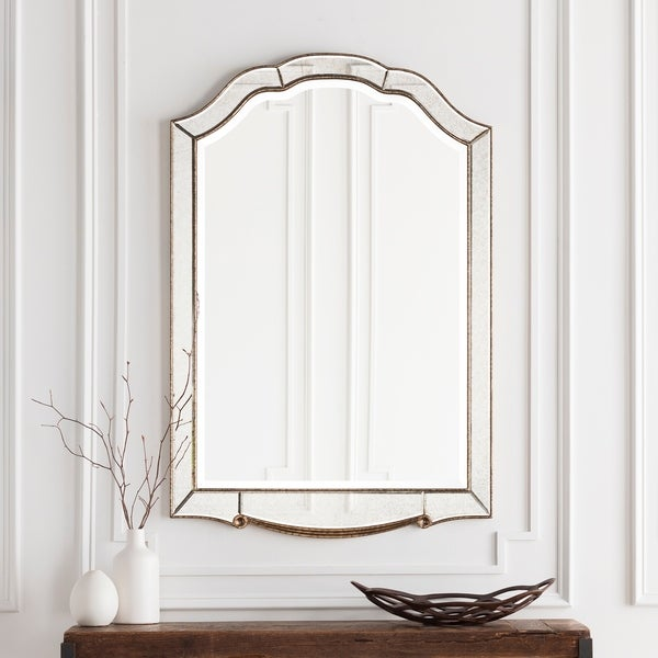 """Hector Elegant Antique Accented Arched Wall Mirror 31.5"""" x 47.6"""" - Gold"""