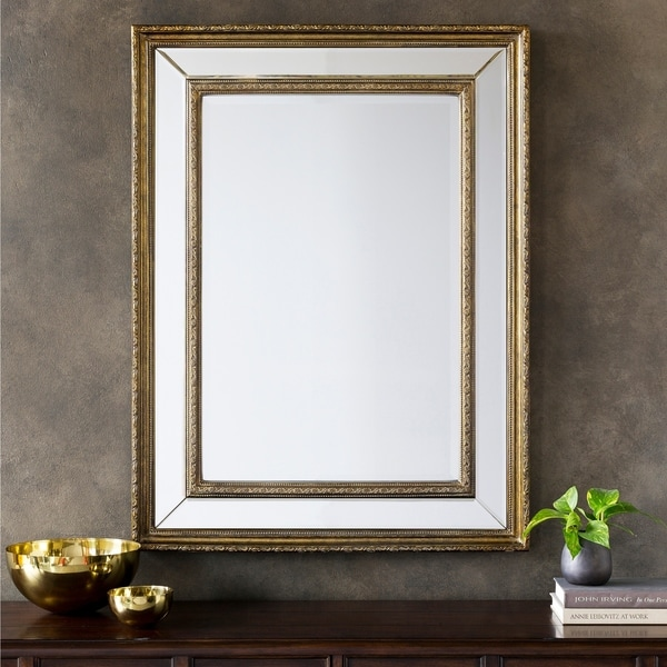Alexia Large Size Rectangular Wall Mirror - Antique Silver