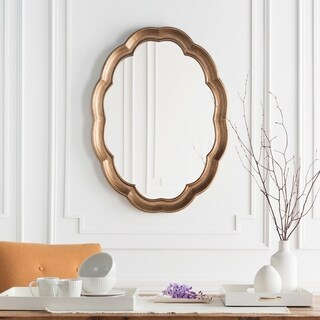 "Walter Aged Gold Frame Oval Wall Mirror - 30"" x 40"""