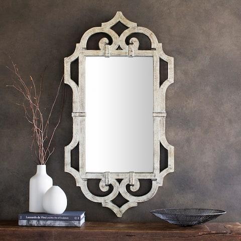 "Loddon Weathered Wood Scrollwork Wall Mirror - Grey - 21"" x 39.5"""