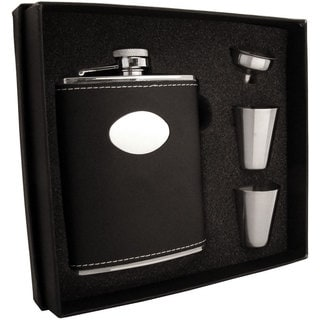 Visol Eclipse Black Leather Supreme Flask Gift Set - 6 ounces
