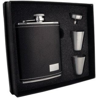 Visol Eclipse S Black Leather Supreme Flask Gift Set - 6 ounces