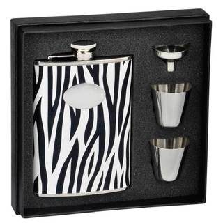 Visol Zebra Black & White Leather Supreme II Flask Gift Set - 8 ounces