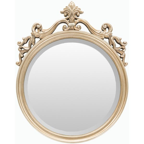 Alyson Polyurethane Framed Small Size Round Wall Mirror Gold 19 5 X 25
