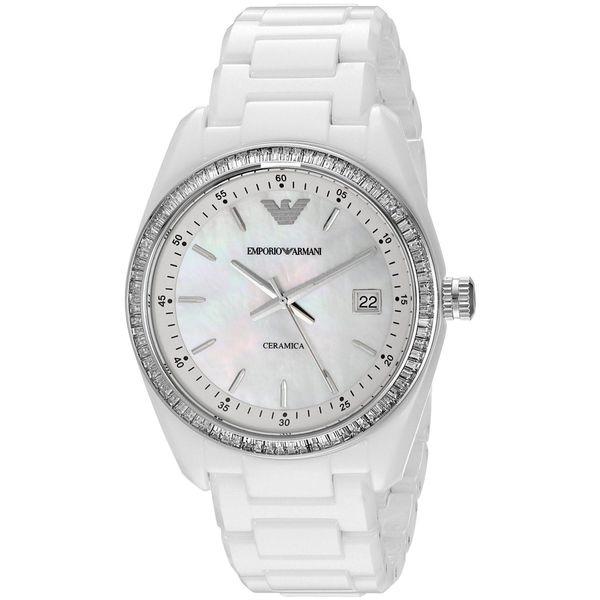 Shop Emporio Armani Women s  Ceramica  White Ceramic Watch - Free Shipping  Today - Overstock - 10825223 0c9f436f1c