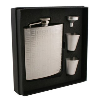 Visol Domino Pattern Stainless Steel Supreme Flask Gift Set - 8 ounces