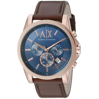 Armani Exchange Men's 'Outer Banks' Chronograph Brown Leather Watch