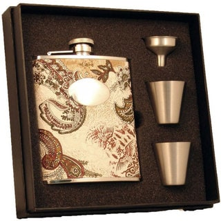 Visol Floral Paisley Pattern Supreme Flask Gift Set - 6 ounces