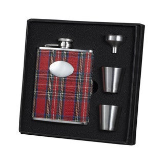Visol Scrooge Red Plaid Supreme Flask Gift Set - 6 ounces