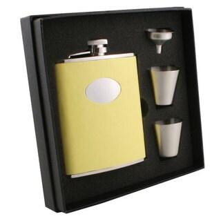 Visol Sunshine Yellow Leather Supreme Flask Gift Set - 6 ounces