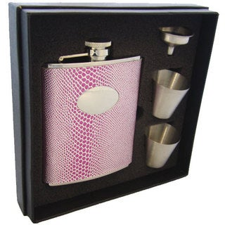 Visol Viper Pink Snake Pattern Supreme Flask Gift Set - 6 ounces