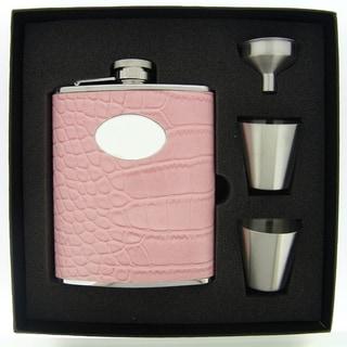 Visol Annabella Light Pink Snake Pattern Supreme Flask Gift Set - 6 ounces