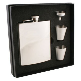 Visol Ray Mirror Finish Stainless Steel Supreme Flask Gift Set - 8 ounces