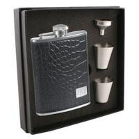 Visol Gator Black Crocodile Leather Supreme Flask Gift Set - 6 ounces