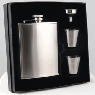 Visol Edge Satin Finish Stainless Steel Supreme Flask Gift Set - 6 ounces