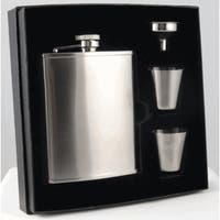 Visol Edge Satin Finish Stainless Steel Supreme Flask Gift Set - 6 ounces