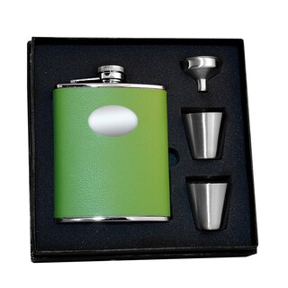 Visol Lily Pad Light Green Leather Supreme Flask Gift Set - 6 ounces