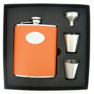 Visol Sunbeam Orange Leather Supreme Flask Gift Set - 6 ounces