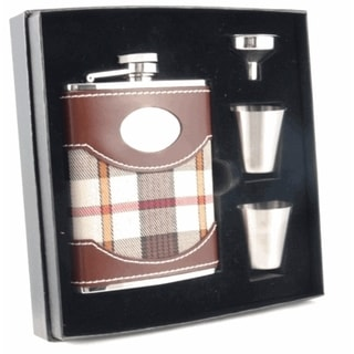 Visol Braw Plaid & Leather Supreme Flask Gift Set - 6 ounces