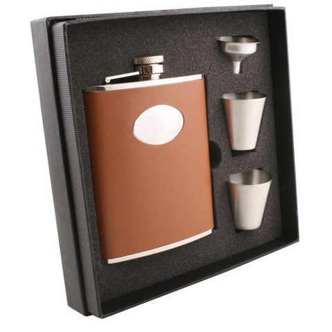Visol Hound Brown Leather Supreme Flask Gift Set - 6 ounces