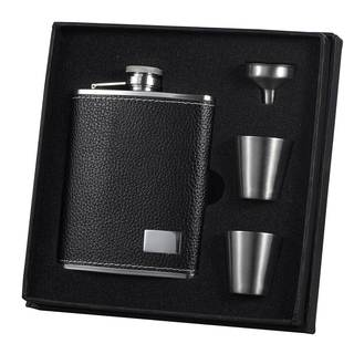 Visol Eclipse S Black Leather Supreme Flask Gift Set - 6 ounces