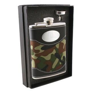 Visol Edinburgh Leather & Green Plaid Essential II Flask Gift Set - 8 ounces
