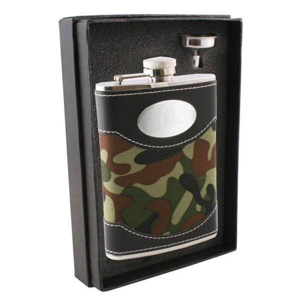 Visol Edinburgh Leather & Green Plaid Essential II Flask Gift Set - 8 ounces