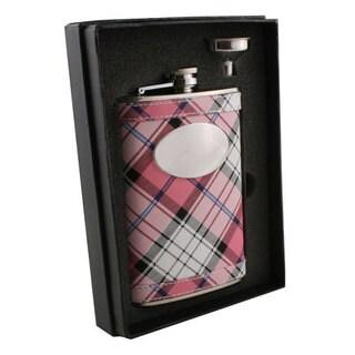 Visol Valor Pink Plaid Essential II Flask Gift Set - 8 ounces