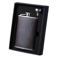 Visol Russell Rustic Brown Leather Essential II Liquor Flask Gift Set - 8 ounces