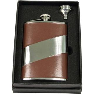 Visol Descent Brown Leather & Stainless Steel Essential II Flask Gift Set - 8 ounces