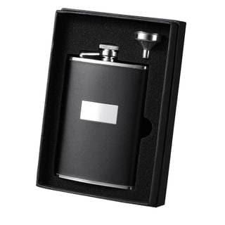Visol Ontario Black Leather Essential II Liquor Flask Gift Set - 8 ounces