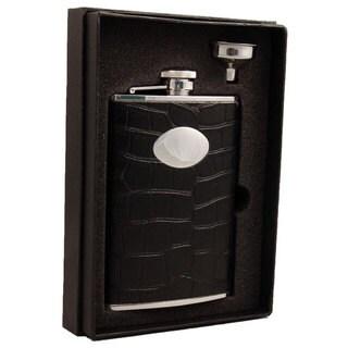 Visol Noir Black Crocodile Leather Essential II Flask Gift Set - 8 ounces