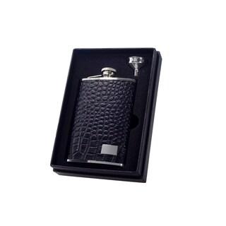 Visol Gator Black Textured Leather Essential II Flask Gift Set - 8 ounces