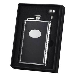 Visol Tux Black Leather and Stainless Steel Essential II Flask Gift Set - 8 ounces